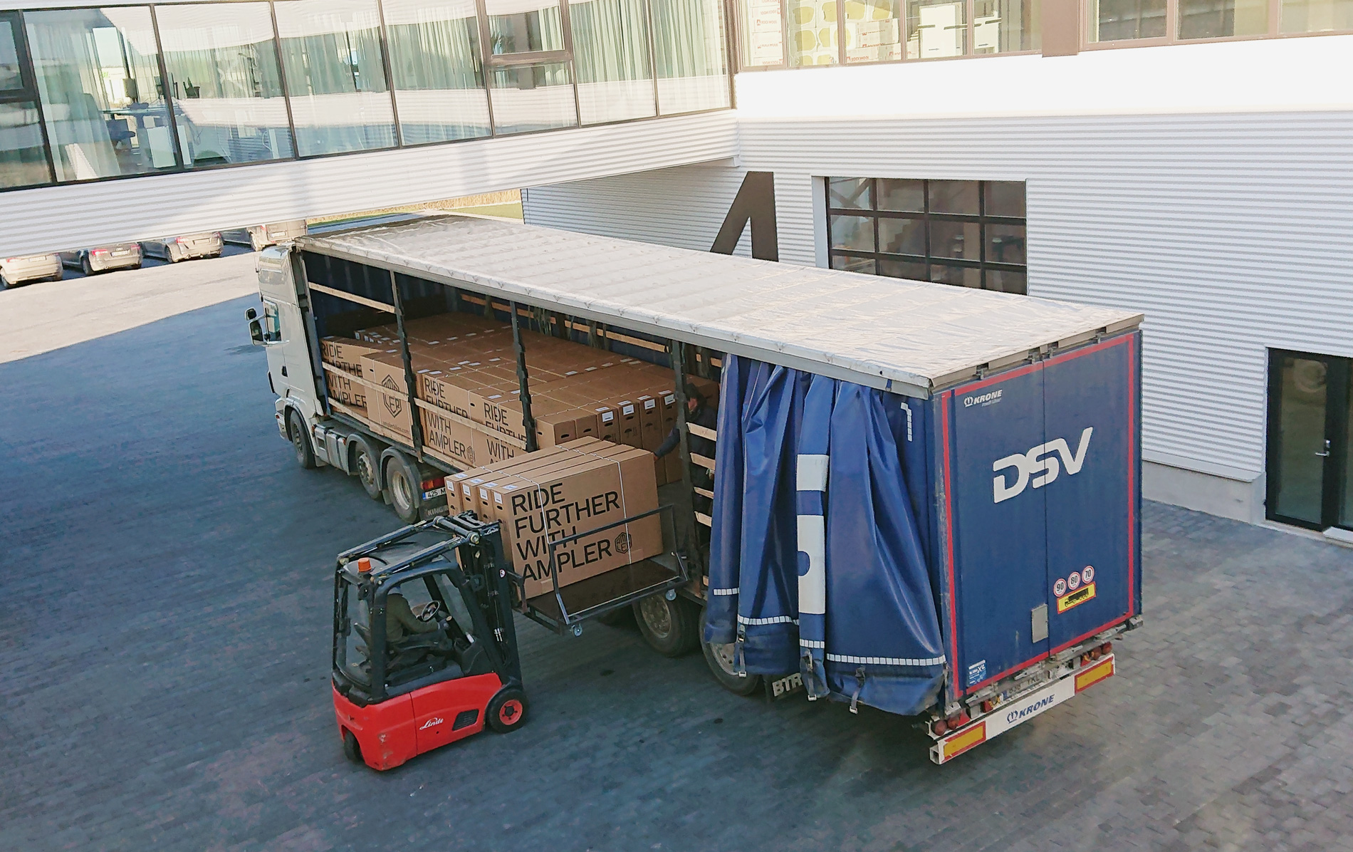 ampler boxes being loaded onto freight forwarder